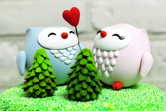 photo of Love Owls wedding cake toppers