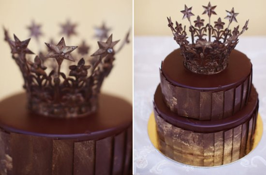 chocolate gold wedding cake crown cake topper
