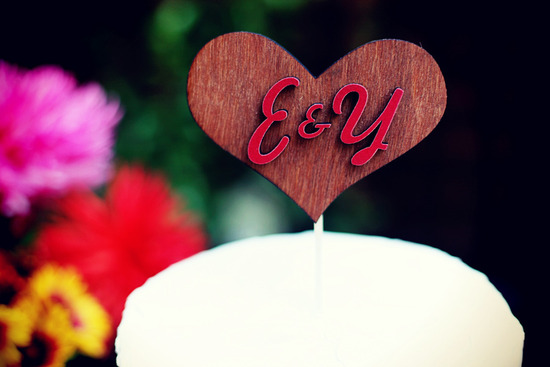 cute wedding cake toppers wood heart monogrammed handmade weddings