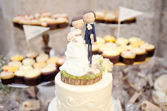 cute bride groom wedding cake toppers custom with realistic wedding garb