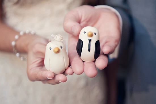 bride groom chick wedding cake toppers penguins