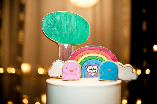 custom wedding cake toppers rainbow wood carvings