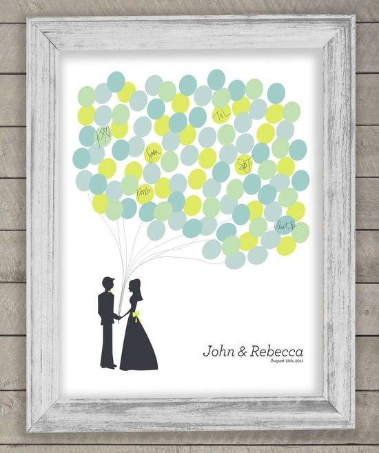 photo of Customized creative wedding guest book