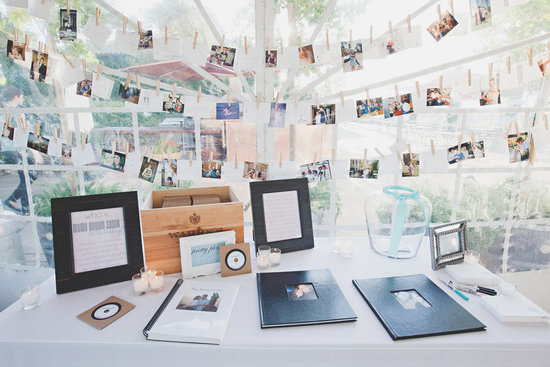 Unique wedding guest books using vintage wedding poloroids