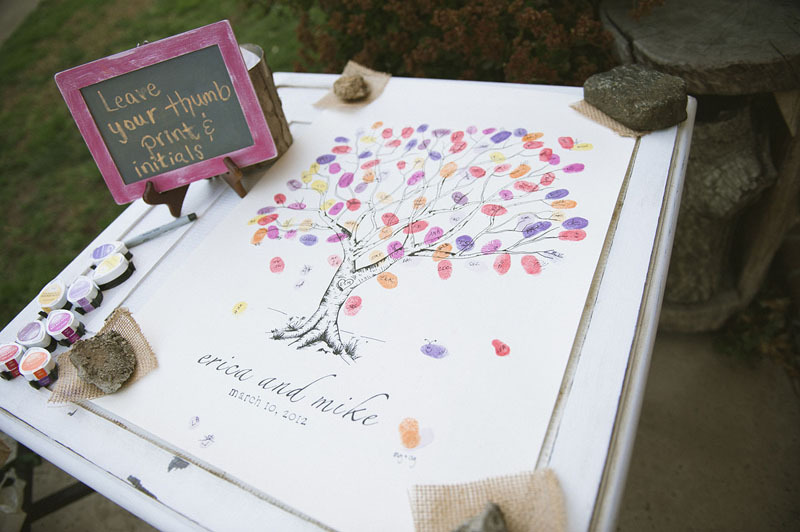 Creative wedding guest books using thumbprint tree art
