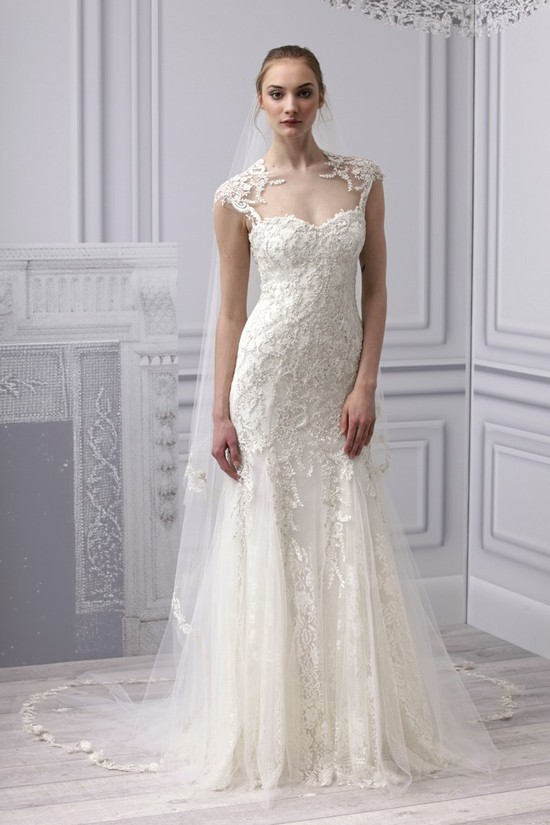 Spring 2013 wedding dress Monique Lhuillier bridal gown beaded mermaid tulle cap sleeves