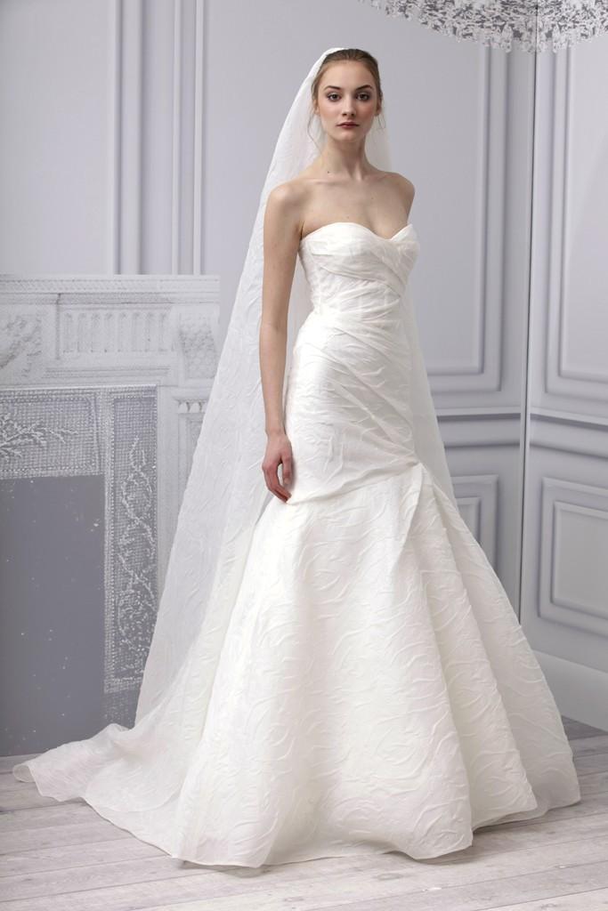 2013 wedding dress Monique Lhuillier bridal gown crinkle mermaid