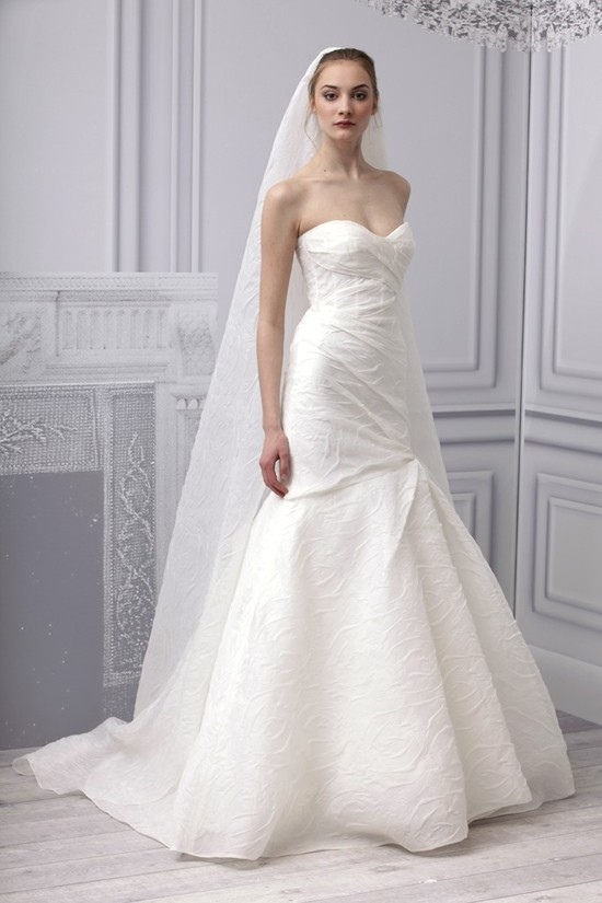Spring 2013 wedding dress Monique Lhuillier bridal gown crinkle mermaid