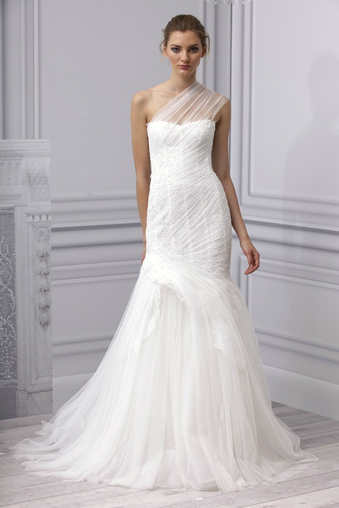 8993bc8180a Spring 2013 wedding dress Monique Lhuillier bridal gown one shoulder sheer  lace