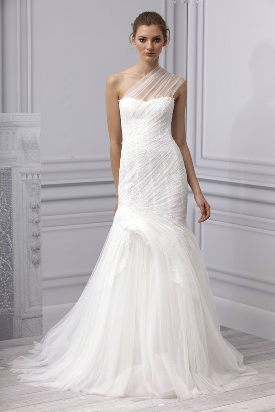 Spring 2013 wedding dress Monique Lhuillier bridal gown one shoulder sheer lace
