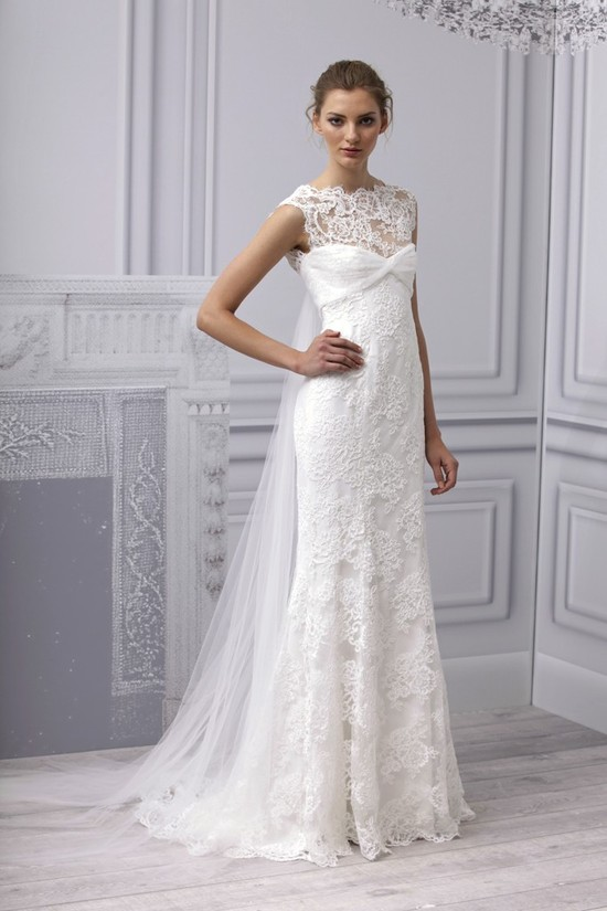 Spring 2013 wedding dress Monique Lhuillier bridal gown modified mermaid lace tulle train