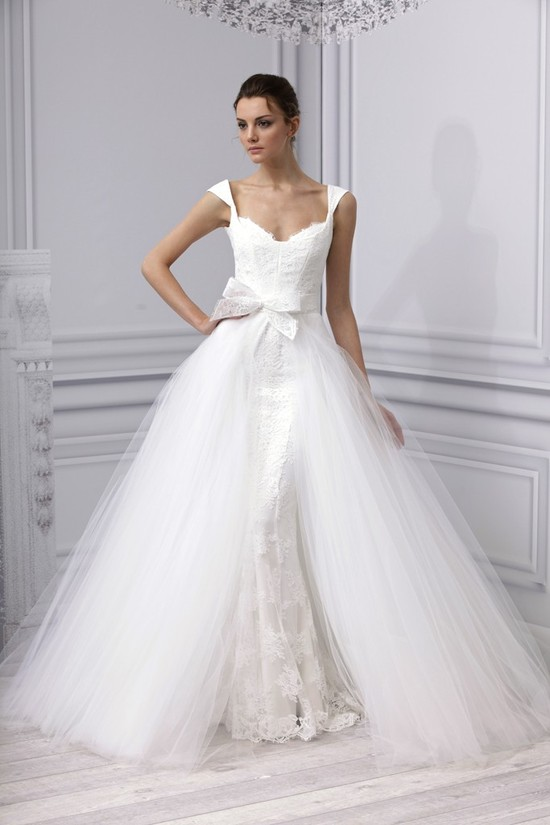 Spring 2013 wedding dress Monique Lhuillier bridal gown lace tulle convertible ballgown