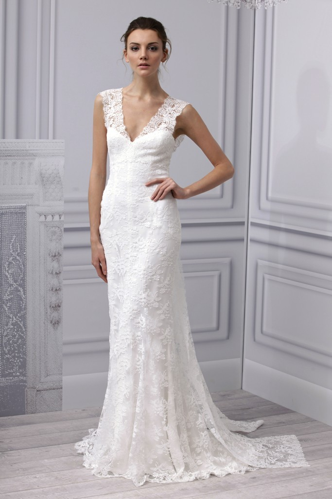 Spring 2013 wedding dress monique lhuillier bridal gown for Lace v neck wedding dress