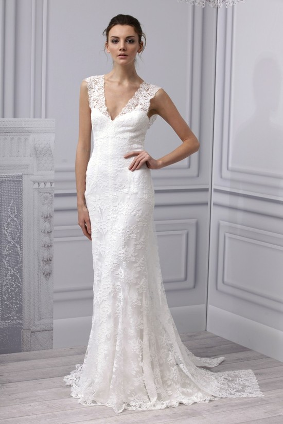 Spring 2013 wedding dress Monique Lhuillier bridal gown simple lace v neck