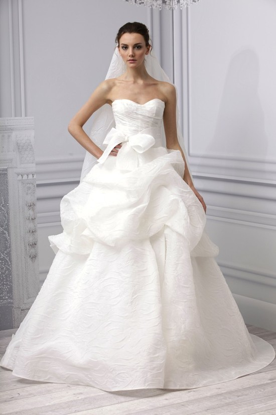 Spring 2013 wedding dress Monique Lhuillier bridal gown white princess bow and peplum