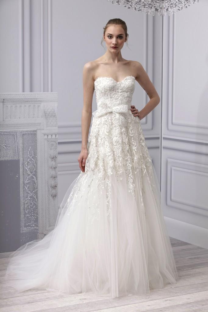 Spring 2013 Wedding Dress Monique Lhuillier Bridal Gown Lace Beading Tulle Drop Waist Skirt