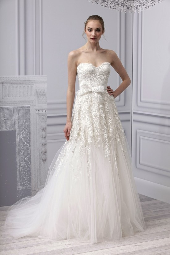 Spring 2013 wedding dress Monique Lhuillier bridal gown lace beading tulle drop waist skirt