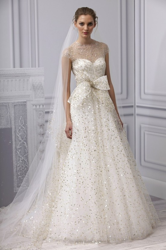 Spring 2013 wedding dress by Monique Lhuillier with am illusion neckline & gold beading