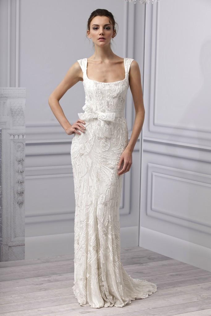 e6d8a0f08c Spring 2013 wedding dress Monique Lhuillier bridal gown square neckline