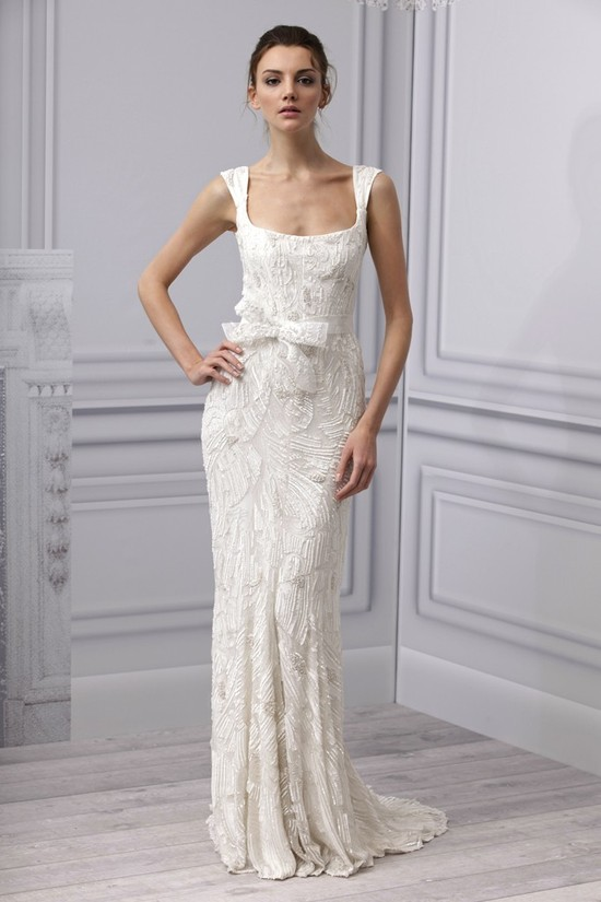 Spring 2013 wedding dress Monique Lhuillier bridal gown square neckline