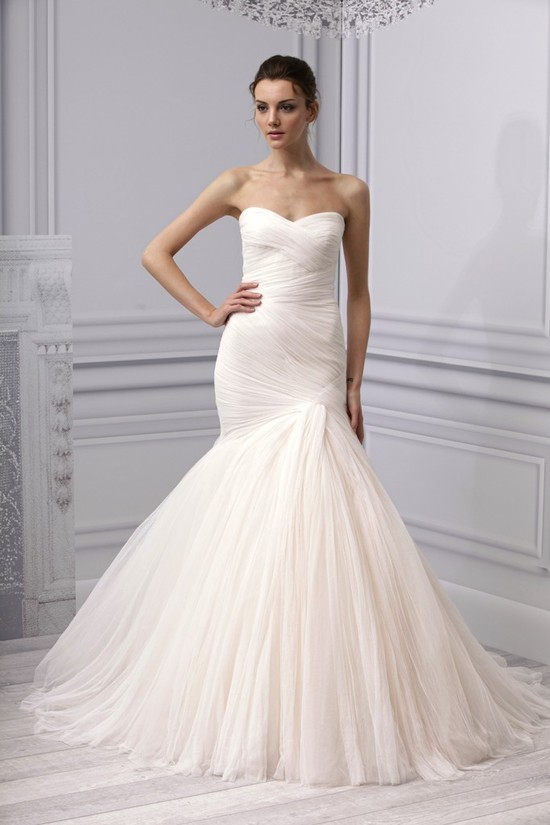 Spring 2013 wedding dress Monique Lhuillier bridal gown ruched pleated mermaid