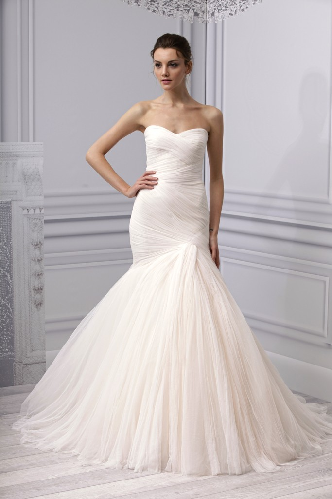Mermaid Wedding Dresses Pleated : Spring wedding dress monique lhuillier bridal gown