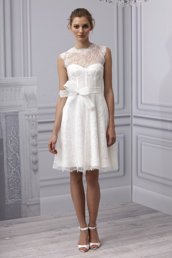 Spring 2013 wedding dress Monique Lhuillier bridal gown lace LWD illusion neckline corset
