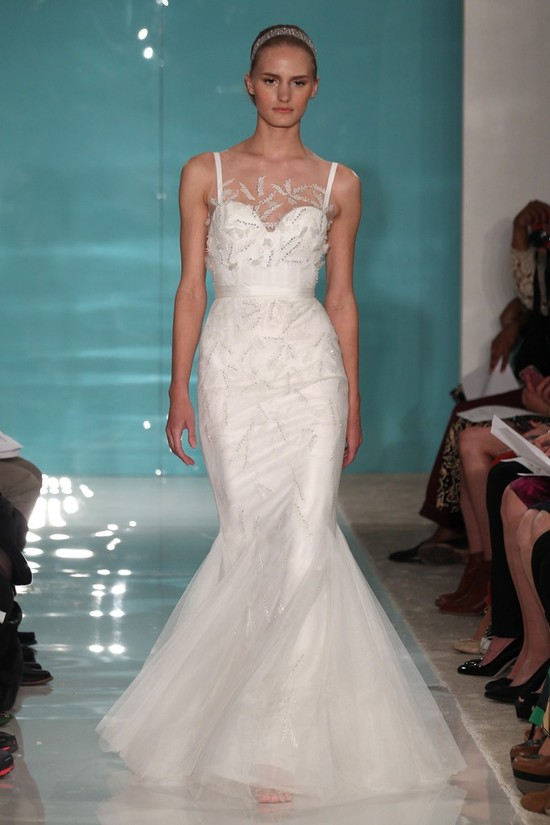 2013 wedding dress trend sheer necklines illusion fabric Reem Acra 2