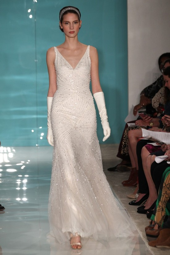 2013 wedding dress trend sheer necklines illusion fabric Reem Acra 5