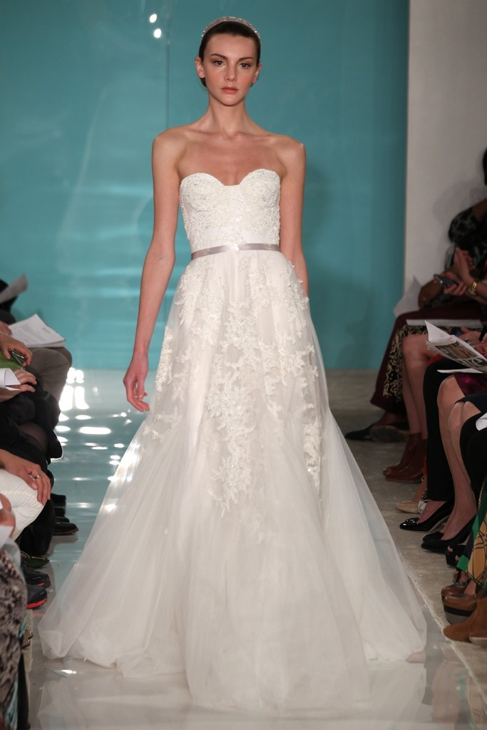 2013 wedding dress trend sheer necklines illusion fabric Reem Acra 7