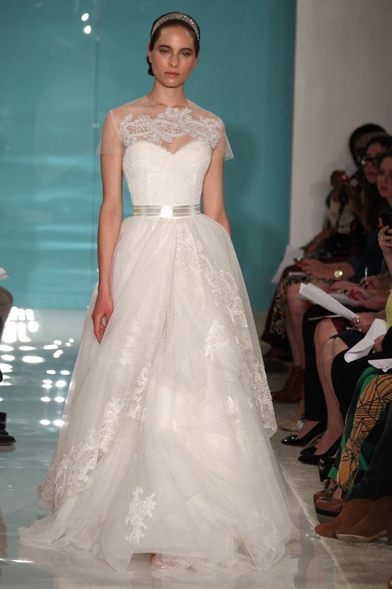 2013 wedding dress trend sheer necklines illusion fabric Reem Acra 8