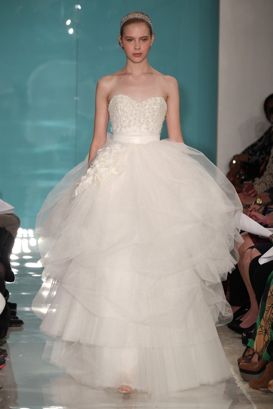 2013 wedding dress trend sheer necklines illusion fabric Reem Acra 10
