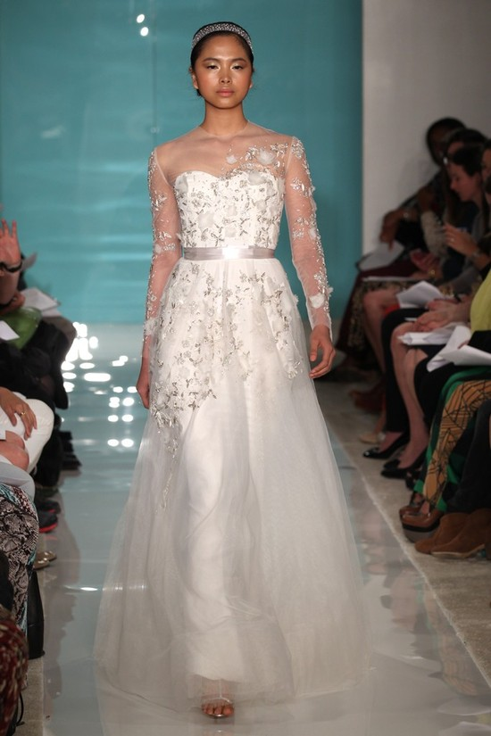 2013 wedding dress trend sheer necklines illusion fabric Reem Acra 13
