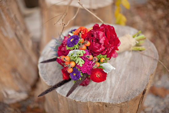 red orange purple bridal bouquet