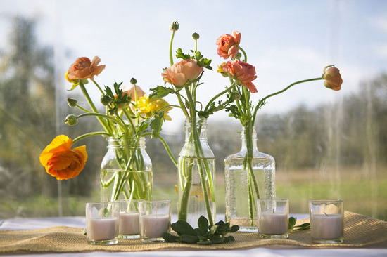 wildflower wedding centerpieces reception table decor yellow purple orange outdoor wedding 4