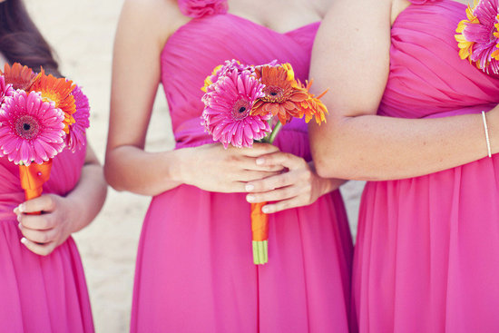 bright gerbera daisy bridesmaid bouquets bright bridesmaids dresses