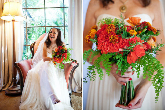 bright orange red green bridal bouquet