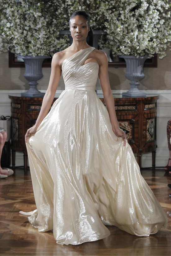Spring 2013 wedding dress collections Romona Keveza bridal gown metallic shimmer