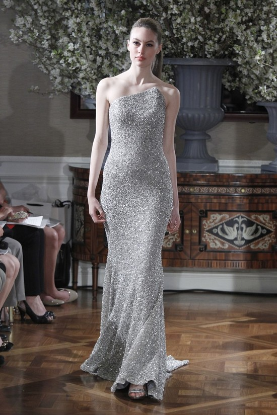 Spring 2013 wedding dress collections Romona Keveza bridal gown metallic silver