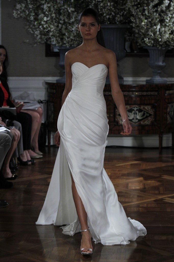 Spring 2013 Wedding Dress Collections Romona Keveza Bridal Gown White  Sweetheart With Slit