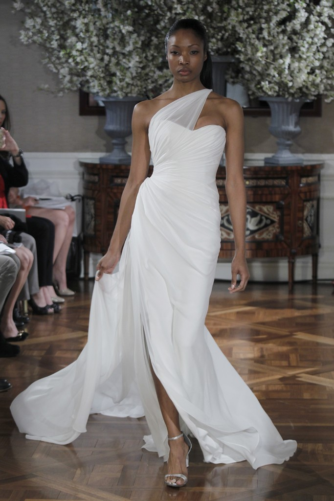 Spring 2013 wedding dress collections Romona Keveza bridal gown sheer one shoulder