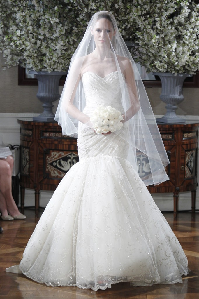 Spring 2013 wedding dress collections Romona Keveza bridal gown drop waist mermaid