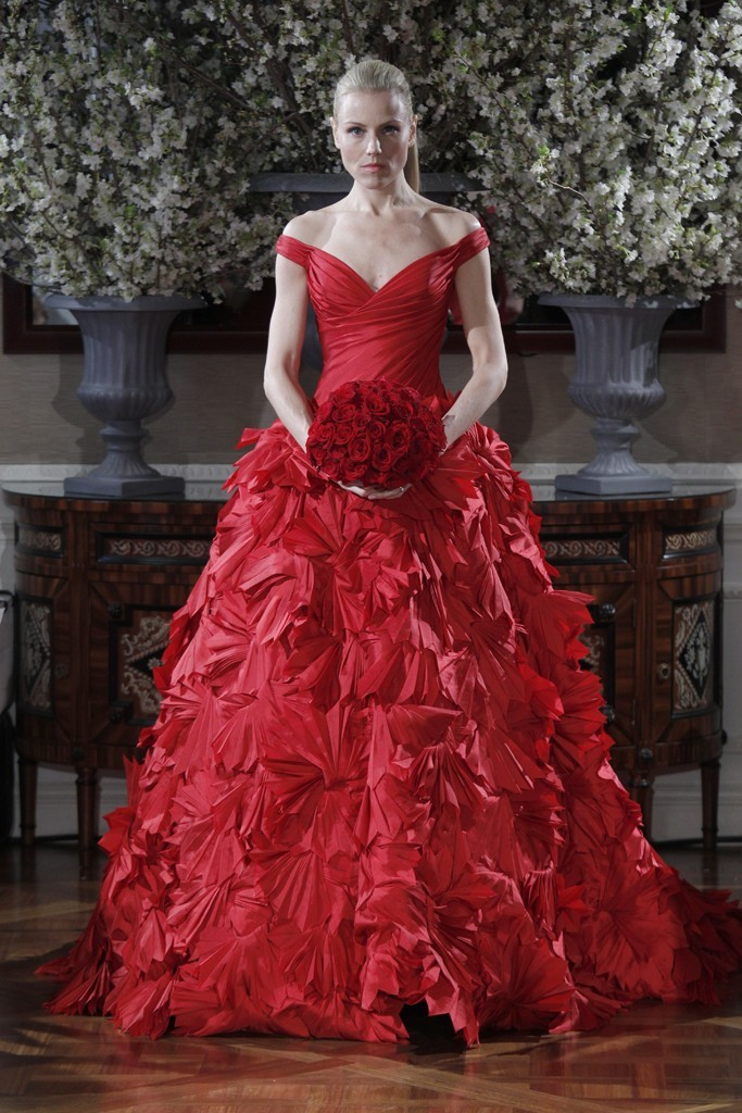 Spring 2013 wedding dress collections Romona Keveza bridal gown red ballgown