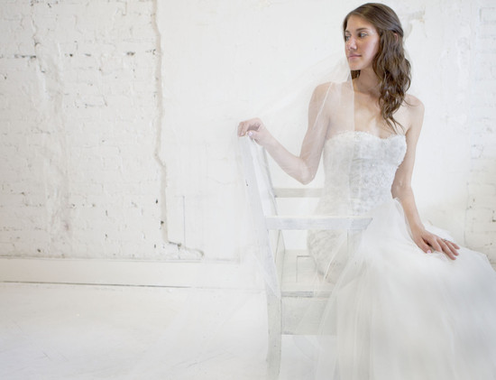 photo of beaded monique lhuillier wedding dress tulle drop waist