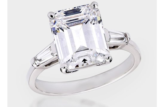 angelina jolie engagement ring emerald cut diamond engagement rings CZ non diamond