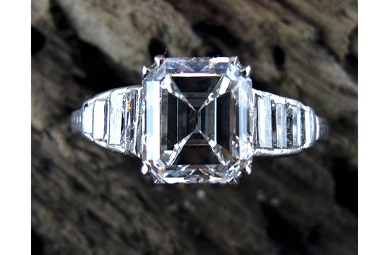 angelina jolie engagement ring emerald cut diamond engagement rings vintage flanked