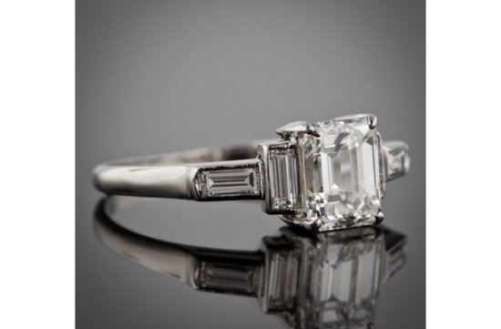 angelina jolie engagement ring emerald cut diamond engagement rings vintage 5