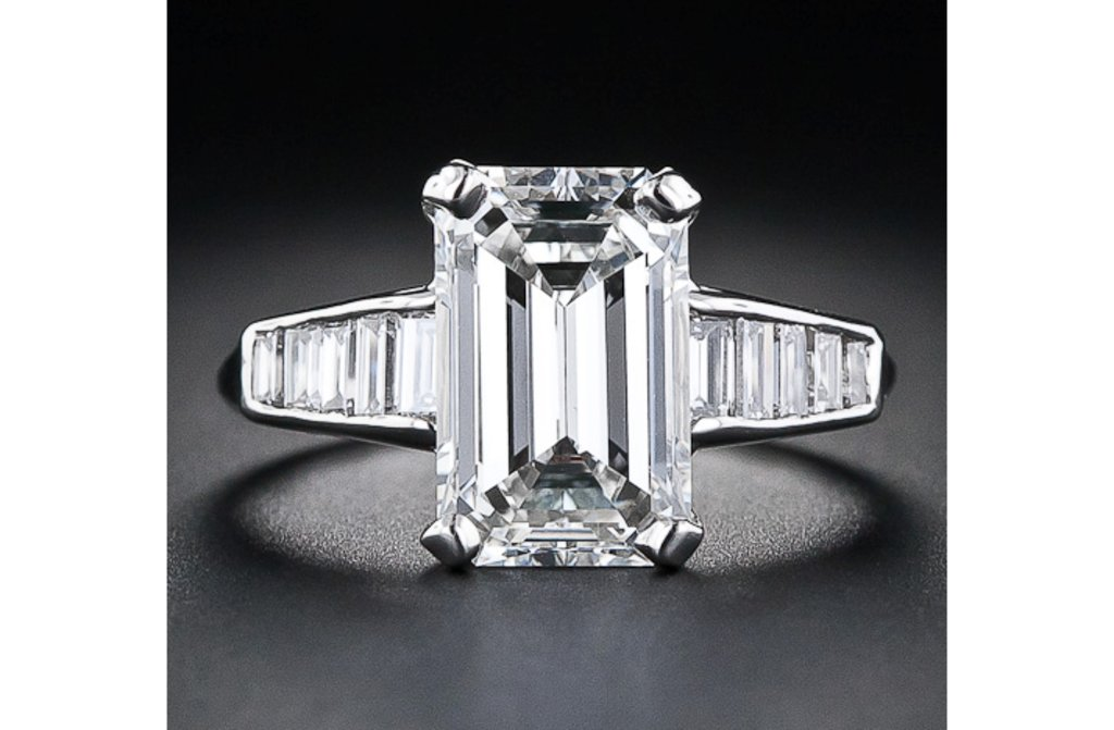 angelina jolie engagement ring emerald cut diamond engagement
