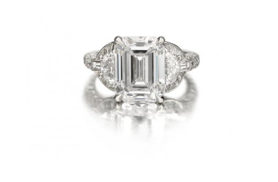 angelina jolie engagement ring emerald cut diamond engagement rings Forevermark
