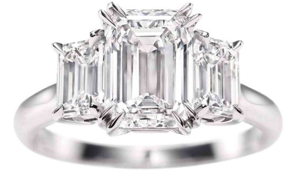 angelina jolie engagement ring emerald cut diamond engagement